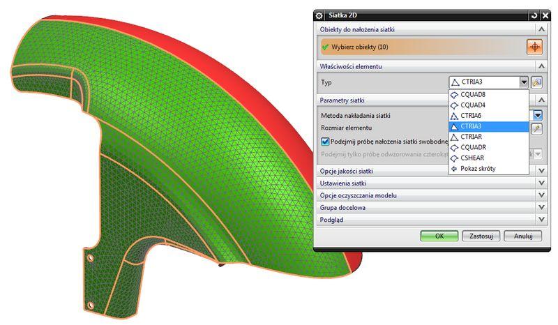 Definiowanie siatki elementów skończonych 2D na podstawie geometrii modelu 3D