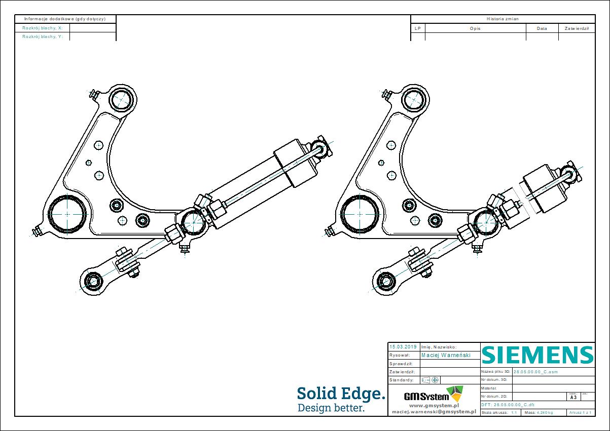 rysunek techniczny - przerwanie wzdłużnie / poprzecznie względem wskazanej osi