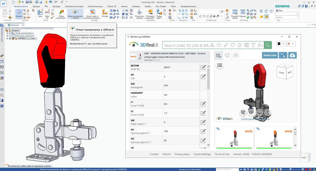 Wybór i wstawienie docisku spawalniczego AMF z wykorzystaniem narzędzia 3Dfind.it