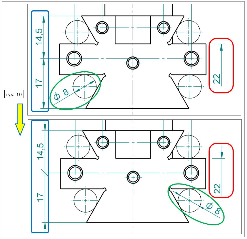 Przenoszenie zakończeń wymiarowych w Solid Edge ST8