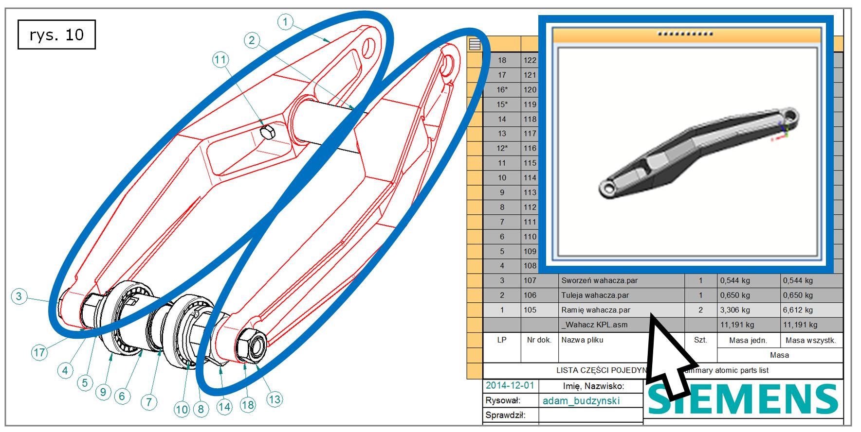Wyróżnianie i miniatury komponentu projektu z BOM w SOLID EDGE ST7