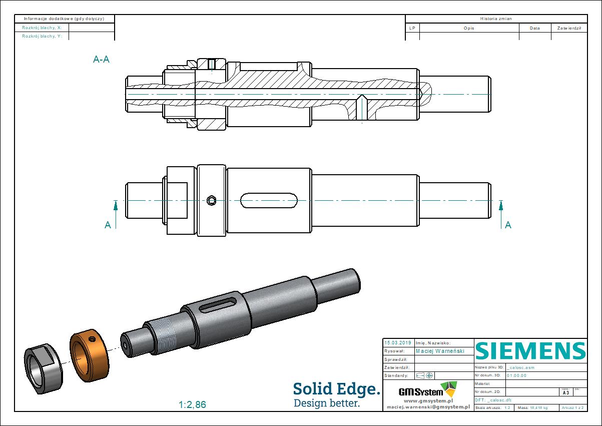 rysunek techniczny - wyrwanie na rzucie prostokątnym wykonane dla wału