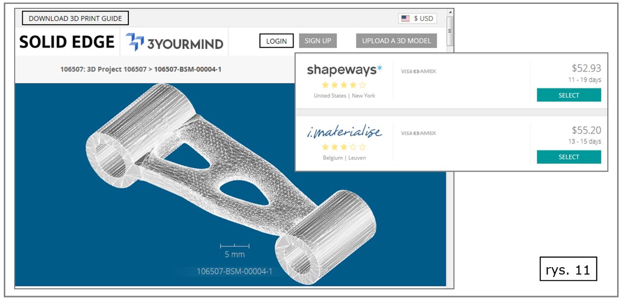 Solid Edge - gotowe rozwiązania dla zlecania wydruku 'on-line' w wyspecjalizowanych firmach zewnętrznych