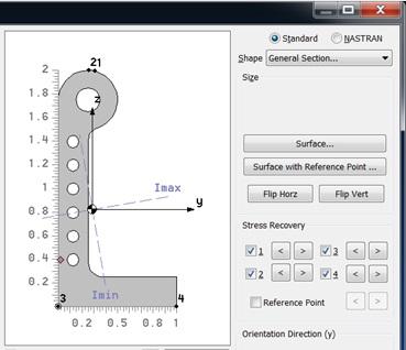 Własny przekrój belkowy na podstawie wskazanej powierzchni w Femap 11.3.