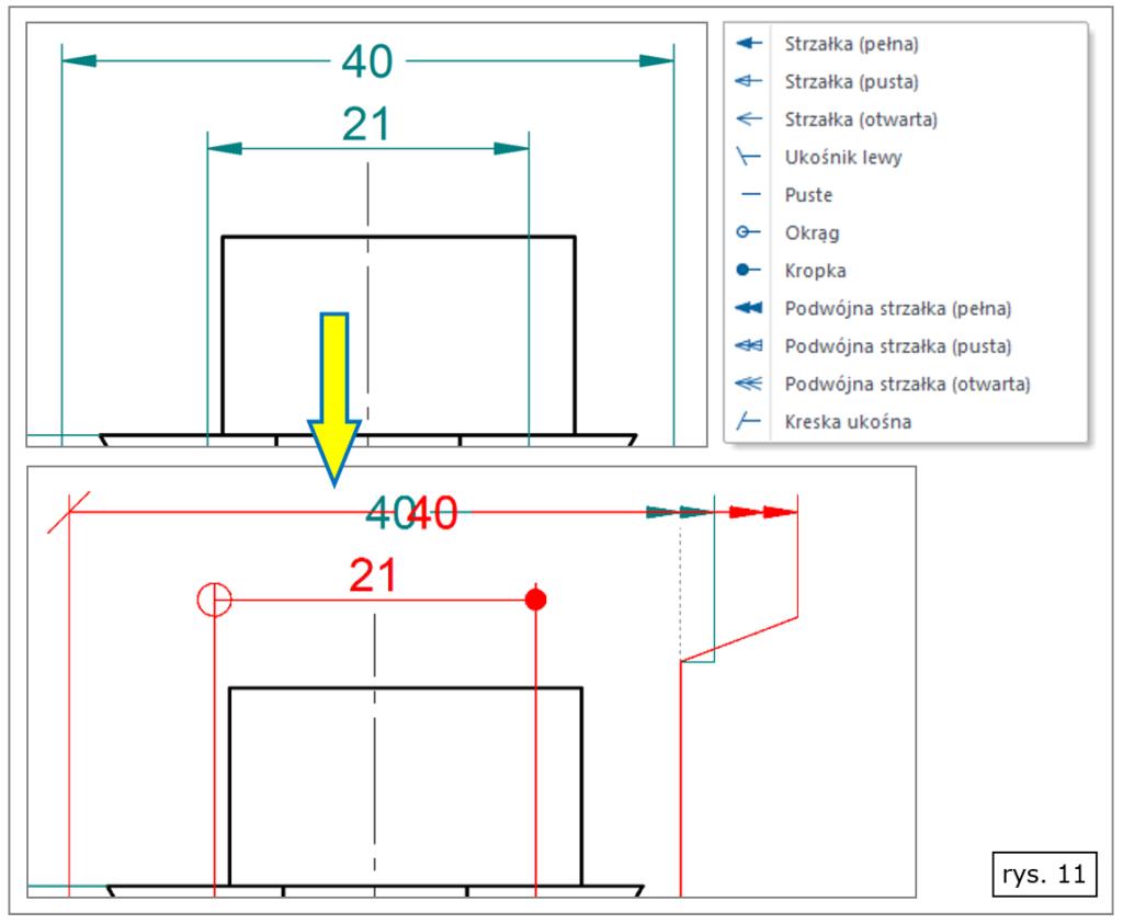 Szybka zmiana symboli zakończenia linii wymiarowej w Solid Edge ST8