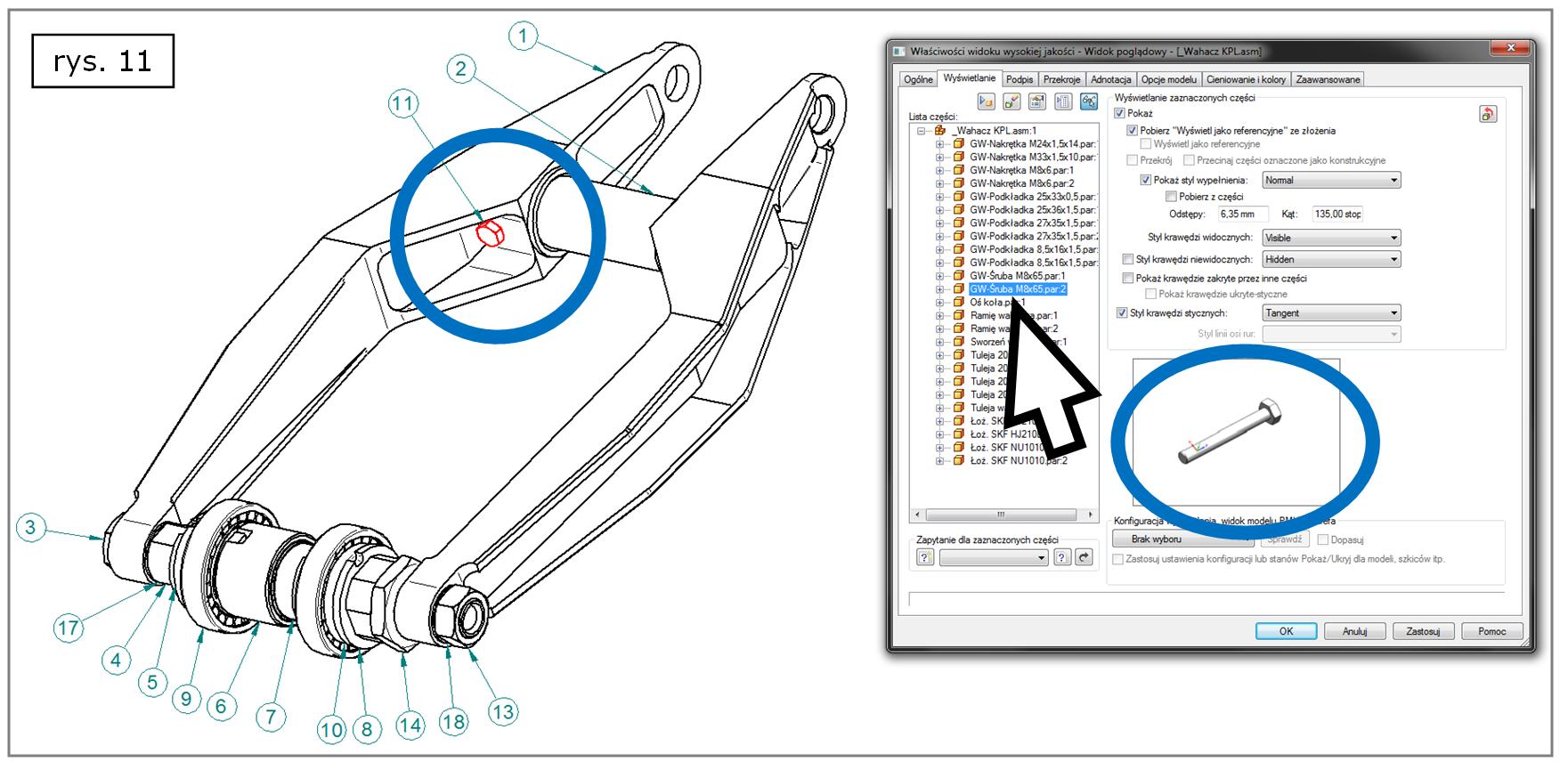 Wyróżnianie z okna właściwości widoku rysunkowego Solid Edge ST7
