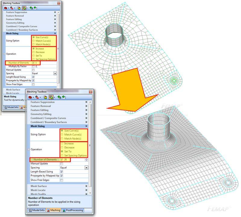 Dopasowanie wielkości siatki pomiędzy różnymi krawędziami za pomocą Meshing Toolbox