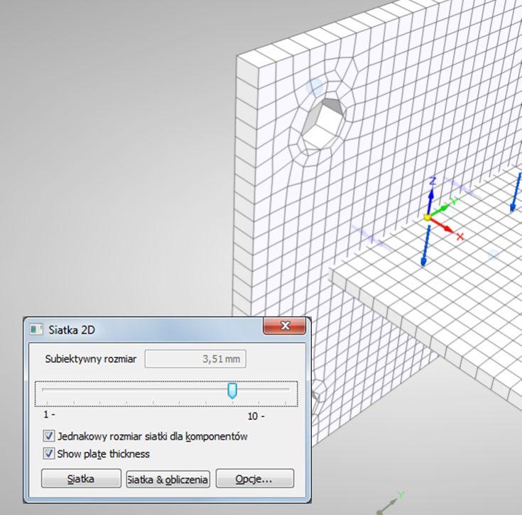 """Opcja """"Show plate thickness"""" czyli pokaż grubość płyty w Solid Edge ST5 Simulation"""