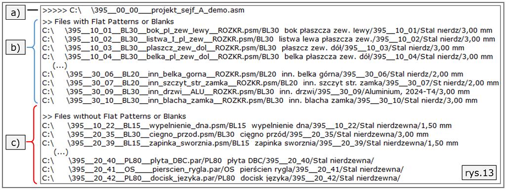 lista BOM plik tekstowy
