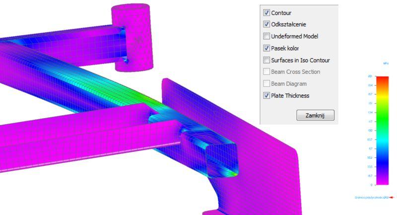 Naprężenia występujące w elementach bryłowych (tulejka) oraz na elementach powłokowych w Solid Edge ST5 Simulation