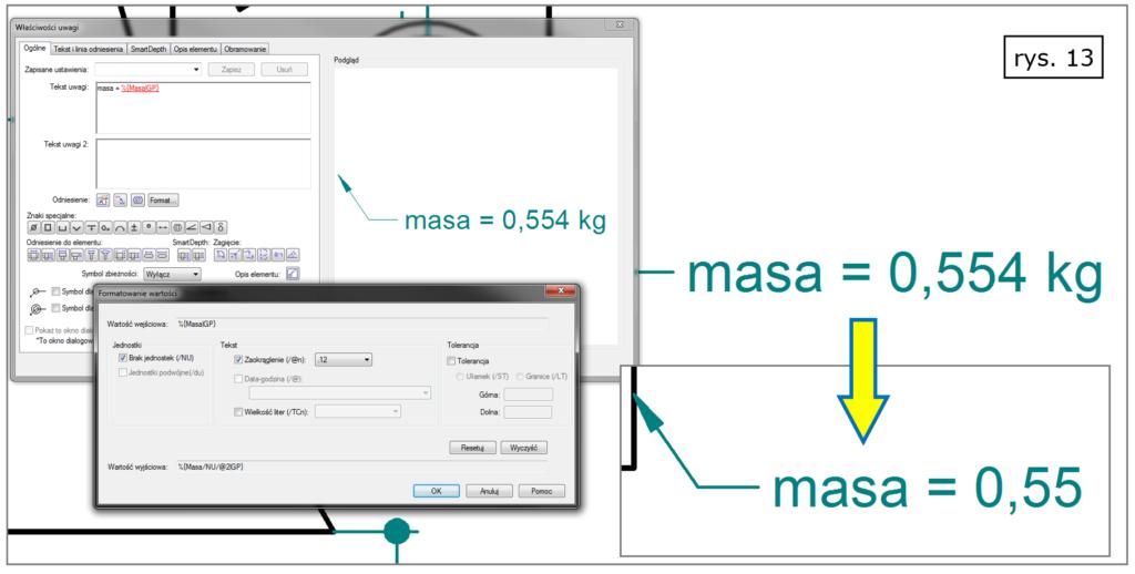 Wyświetlanie jednostek miary i zaokrąglanie wartości mierzonych w Solid Edge ST8