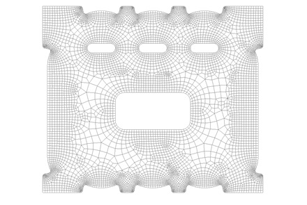 Siatka Quad z warstwami i wzrostem rozmiaru wewnątrz powierzchni w Femap 11.3.
