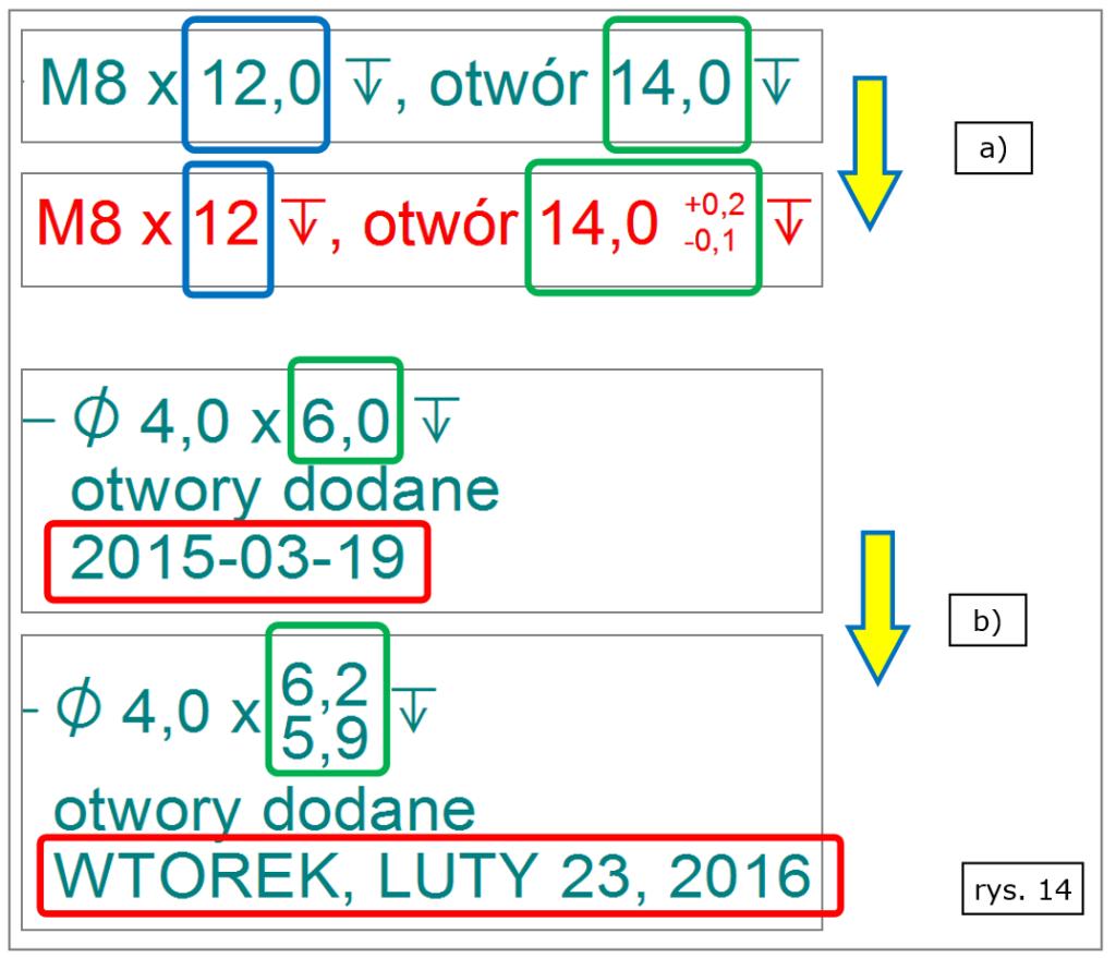 Formatowanie tolerowania dat i tekstu w 2D w Solid Edge ST8