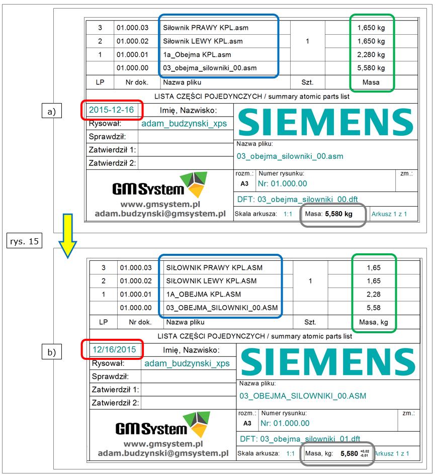 Rys. 15. Edycja i aktualizacja listy części BOM w Solid Edge ST8
