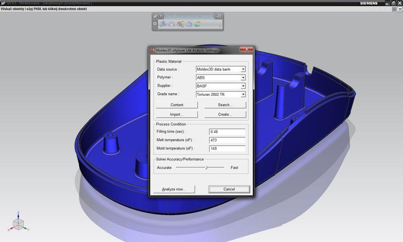 Symulacja wtrysku w NX - wybór materiału, określenie wartości parametrów procesu oraz pożądanej dokładności analizy