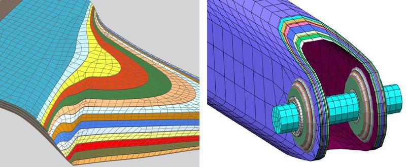 Przykłady siatki elementów skończonych 3D uzyskanej poprzez wyciągnięcie (po lewej) ipoprzezwypełnienie(po prawej)