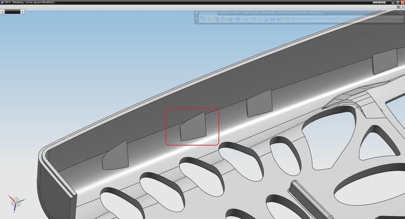 Szczegół geometryczny modelu przeznaczony do usunięcia