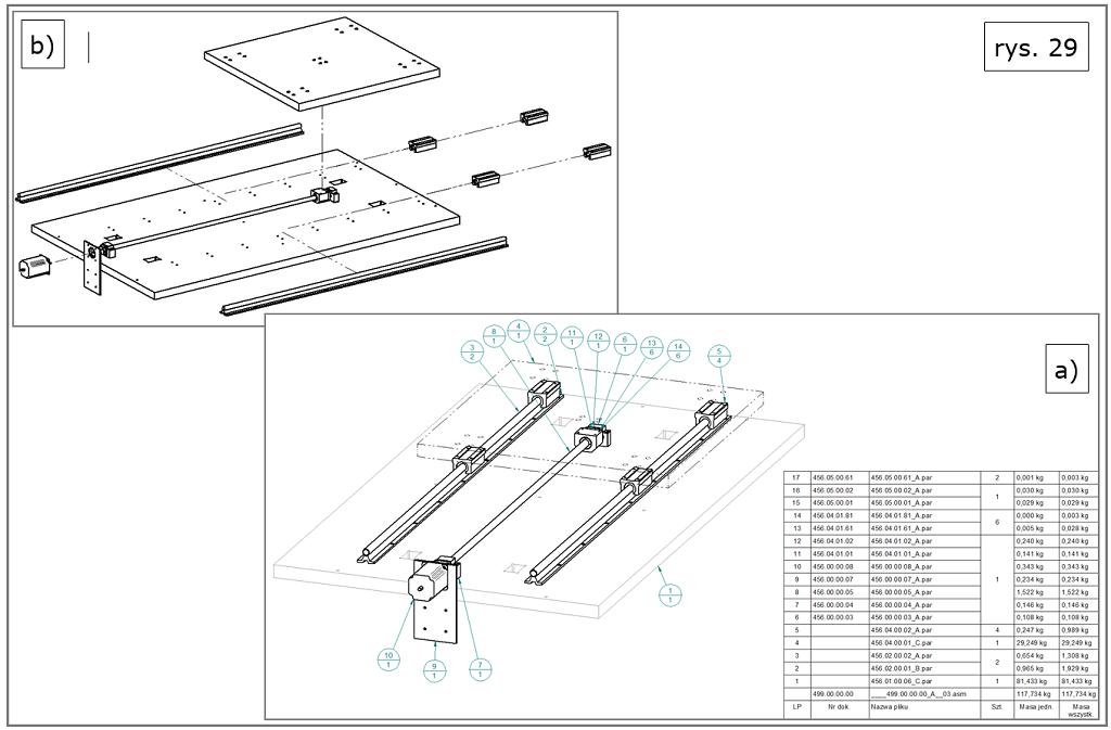 tworzenie dokumentacji 2D z listami części BOM