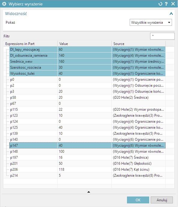 nx cad tabela parametrów wybór wyrażeń