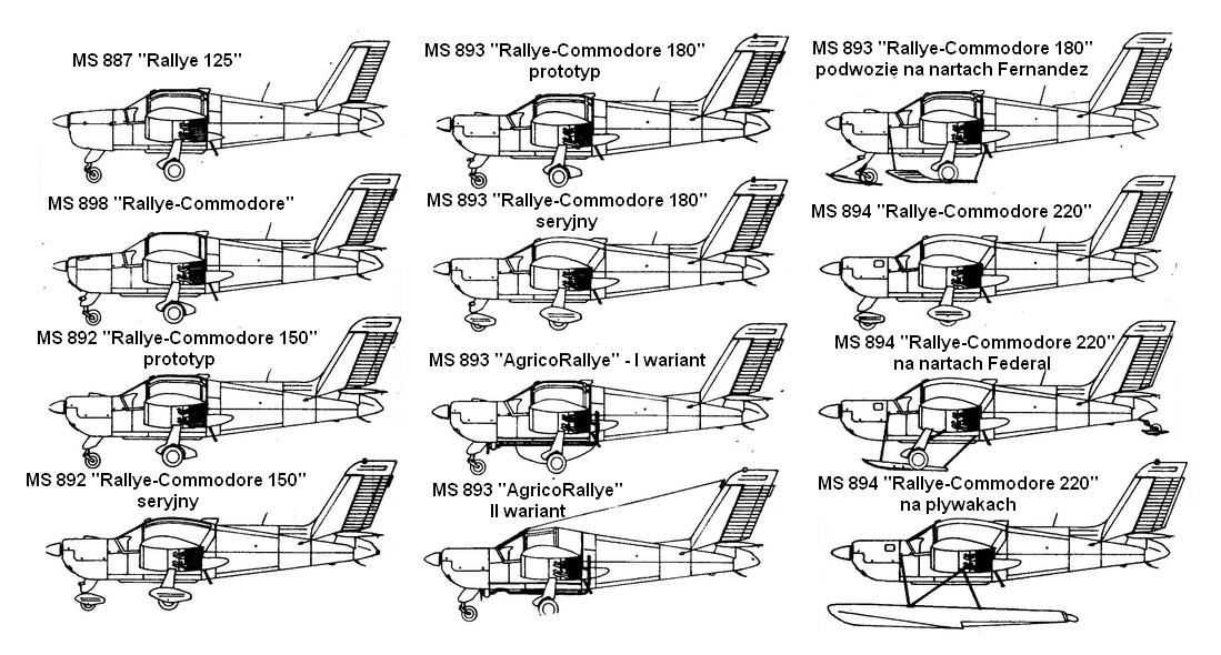 Wybrane różne wersje samolotu Morane-Saulnier/SOCATA Rallye