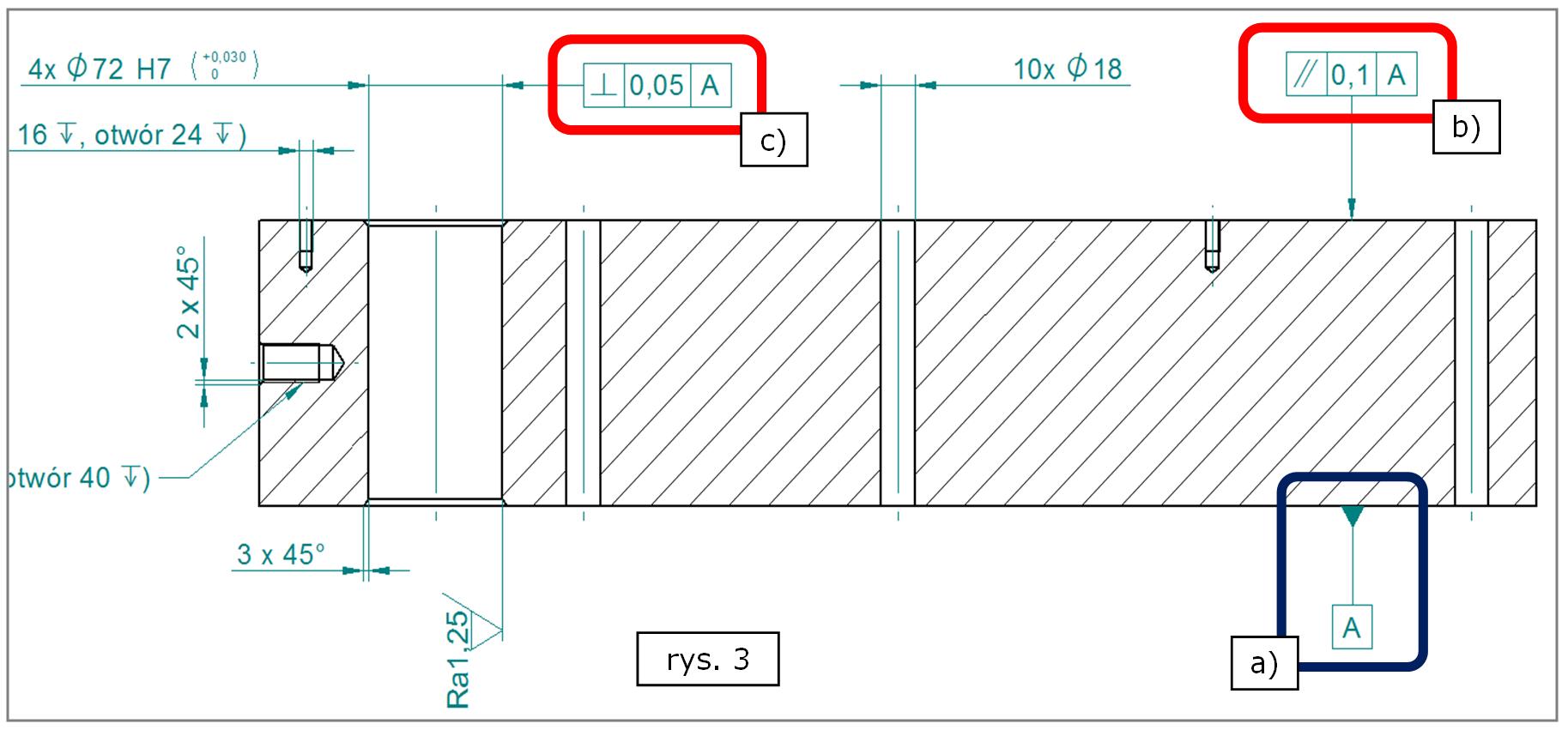 Oznaczenia tolerancji położenia zlinkowane z bazą pomiarową w SOLID EDGE ST7