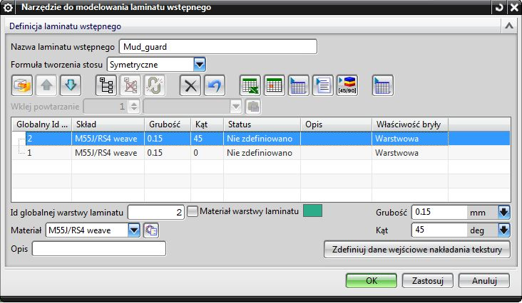 Okno definiowania warstw materiału kompozytowego