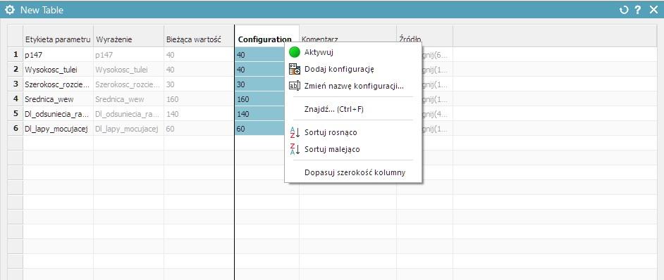 nx cad dodawanie nowej konfiguracji tabela parametrów