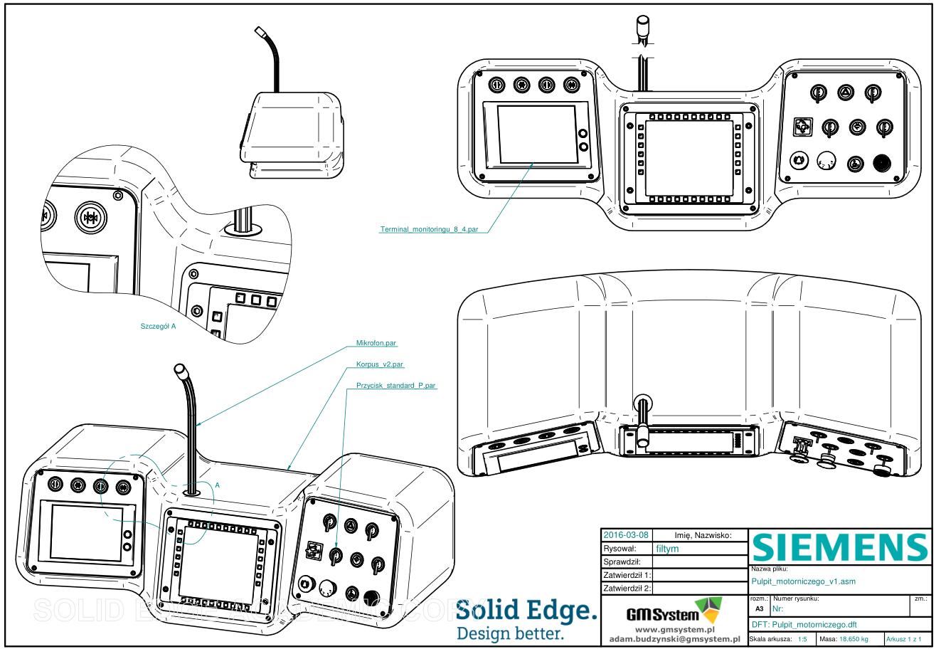 Fragment dokumentacji 2D, właściwej dla modelu 3D