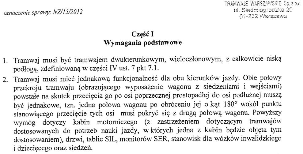 Fragment 'Specyfikacji Istotnych Warunków Zamówienia' - dokument opublikowany przez Tramwaje Warszawskie Sp. z o.o. w 2012r.