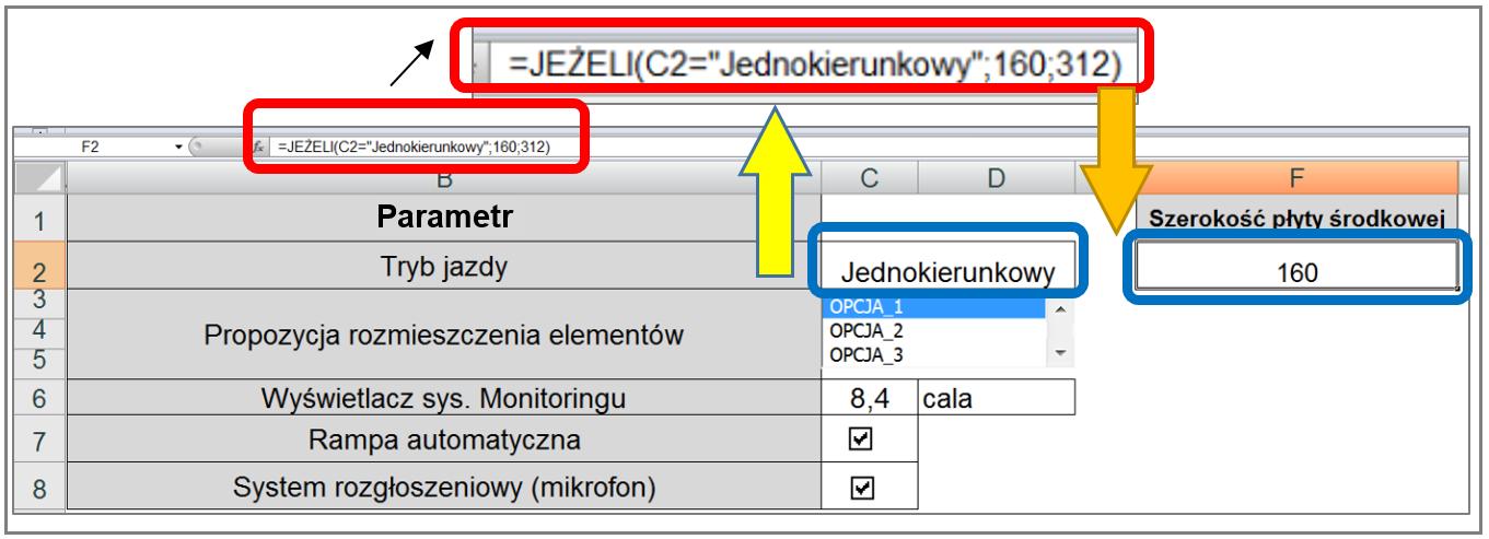 Fragment (!) przykładowego arkusza MS EXCEL, służący do definiowania oczekiwanej geometrii produktu