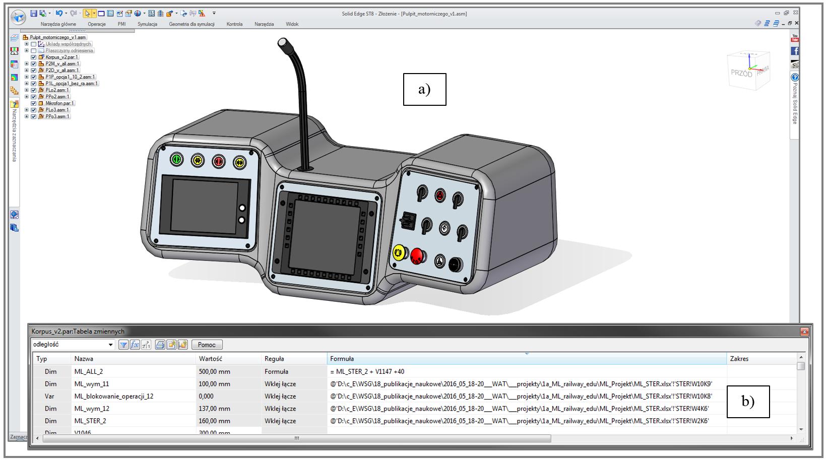 Model 3D powstały w systemie CAD na podstawie wartości zaimportowanych z pliku .XLSX