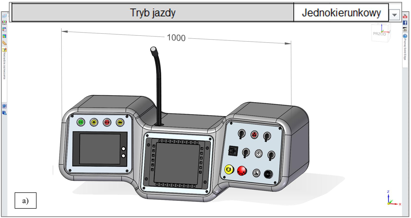 """Wartość wymiaru X modelu pulpitu, zależna od wybranego trybu jazdy tramwaju: a) 1000 mm dla """"Jednokierunkowy"""""""