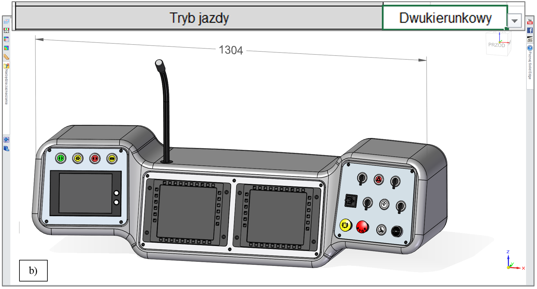 Wartość wymiaru X modelu pulpitu, zależna od wybranego trybu jazdy tramwaju