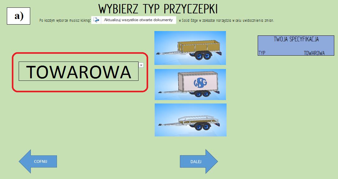"""Etap 2 konfiguratora, wybór rodzaju przyczepy: """"towarowa"""";"""