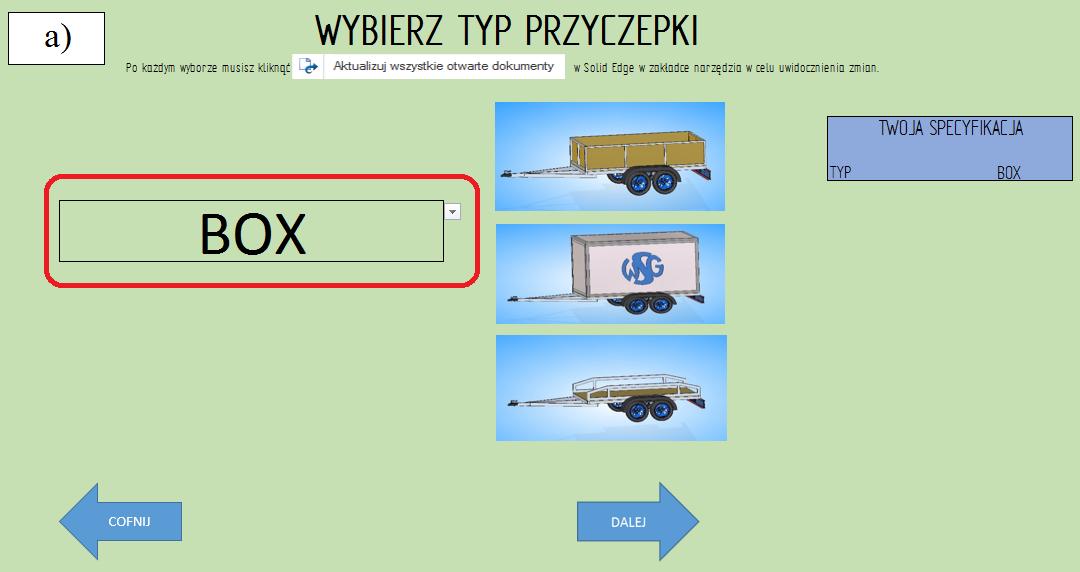 """Etap 2 konfiguratora wybór rodzaju przyczepy """"box"""""""