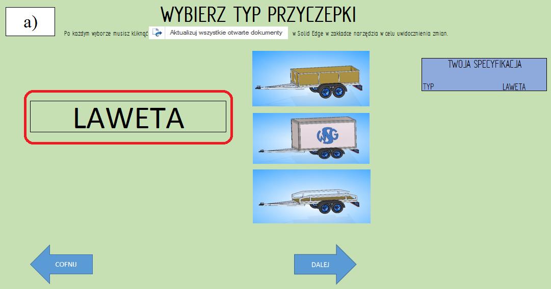 """Etap 2 konfiguratora wybór rodzaju przyczepy """"laweta"""""""