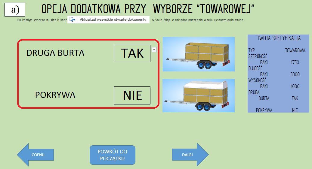 """Etap 5 konfiguratora, opcje dodatkowe dla przyczepy """"towarowej'; """"druga burta"""" TAK, """"pokrywa"""" NIE"""