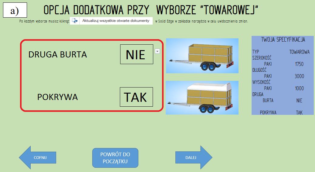 """Etap 5 konfiguratora, opcje dodatkowe dla przyczepy """"towarowej'; """"druga burta"""" NIE, """"pokrywa"""" TAK;"""
