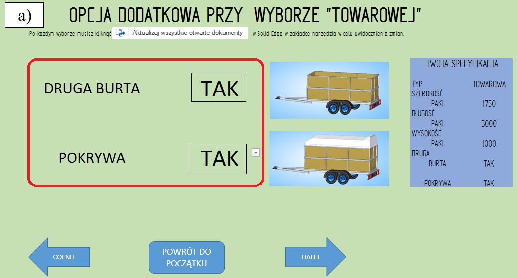 """Etap 5 konfiguratora, opcje dodatkowe dla przyczepy """"towarowej'; """"druga burta"""" TAK, """"pokrywa"""" TAK"""