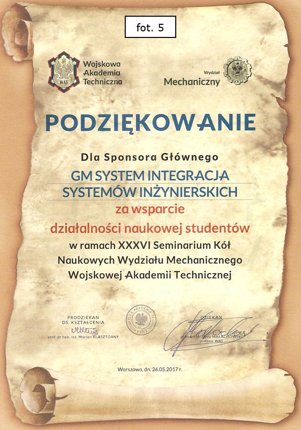Podziękowanie WME WMAT dla GM System - Sponsora Głównego Konferencji
