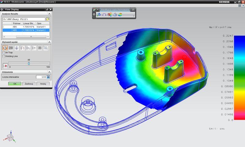 Symulacja wtrysku NX - wizualizacja wyników symulacji (wykonanych np. dla różnych wariantów położenia punktu wtrysku, różnych wariantów geometrycznych modelu)