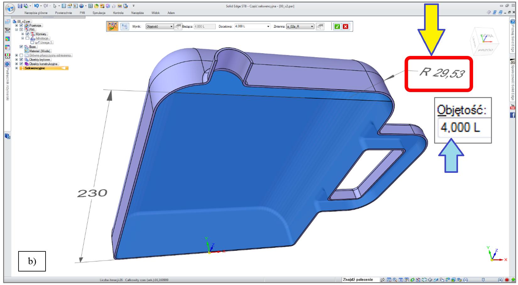 """Model CAD butelki polimerowej, będący przedmiotem optymalizacji (szukano takiej postaci geometrii wyrobu, dla którego objętość wnętrza do """"poziomu lustra cieczy"""" będzie wynosiła dokładnie 4 L)"""