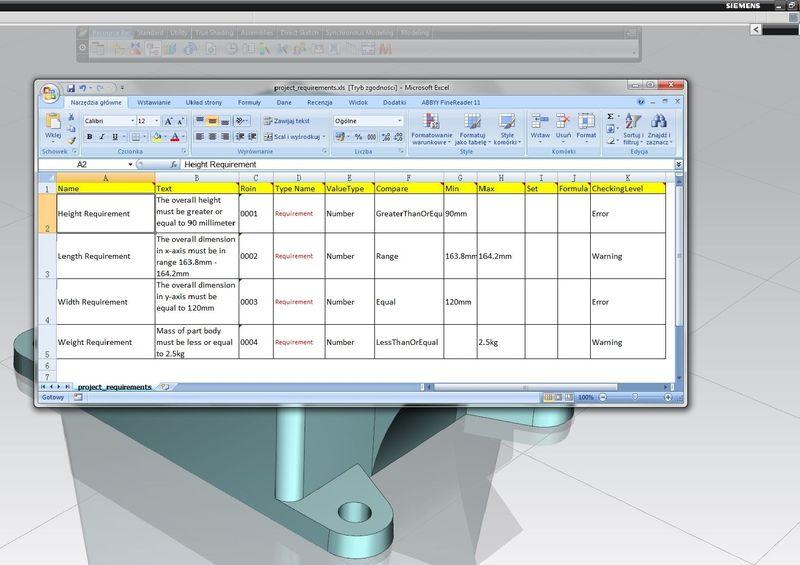 Przykład wymagań do automatycznej kontroli zgodności modelu 3D zdefiniowanych w arkuszu kalkulacyjnym Excel