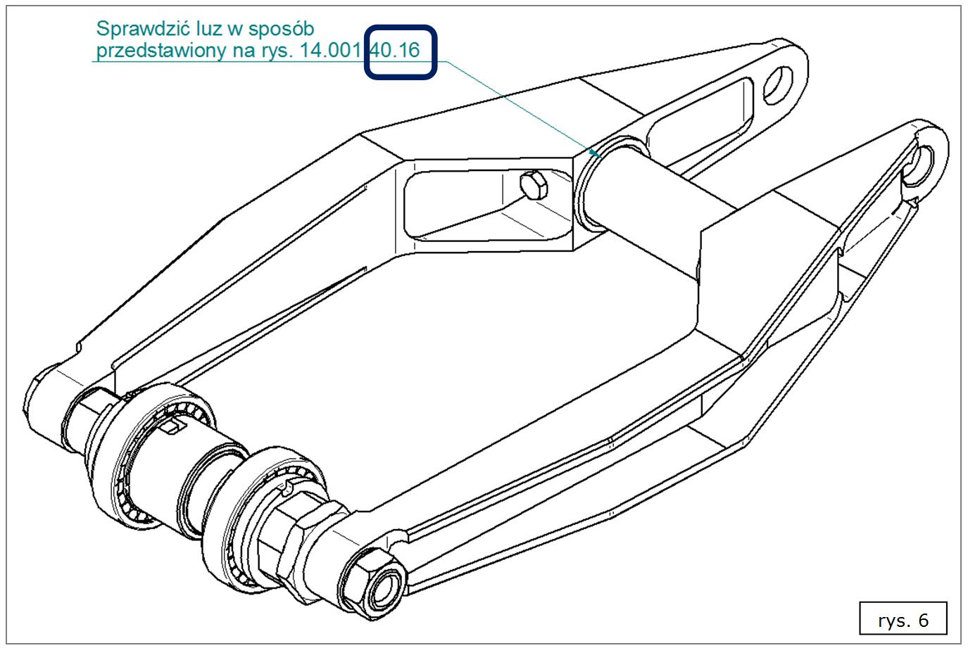 Widok 2D złożenia 3D z przykładową uwagą montażową SOLID EDGE ST7