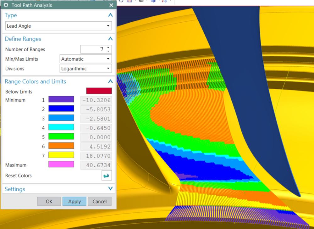 Analiza wizualna NX CAM 11 ujawnia ważne informacje o warunkach skrawania w pięciu osiach