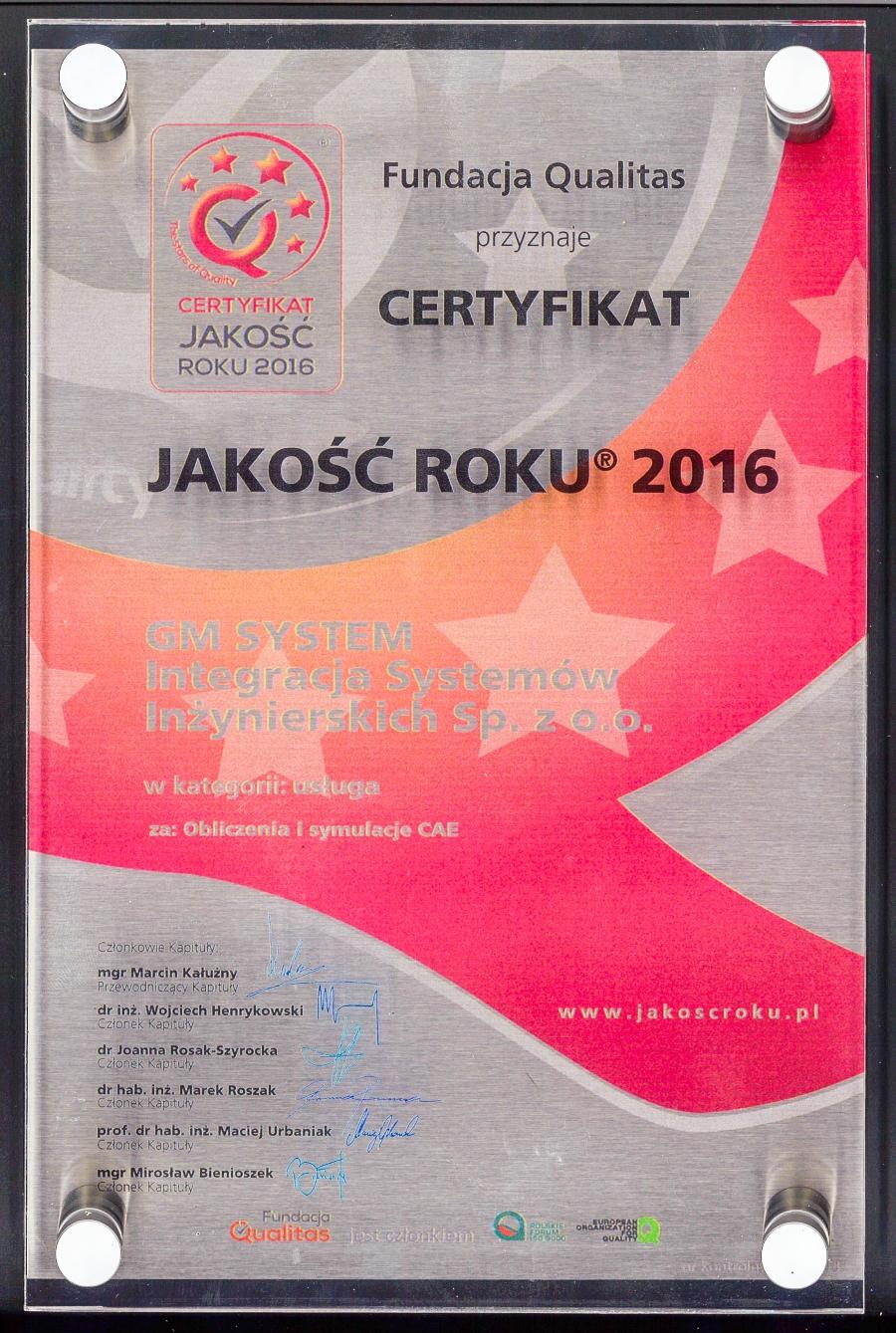 Certyfikat Jakości 2016 dla GM System
