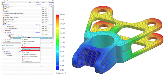 Graficzny rozkład konturów temperatury przypisanej przy użyciu tabeli zmiennych w Simcenter 3D