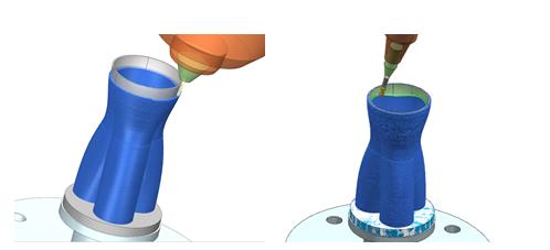 NX hybrid additive manufacturing łączy drukowanie 3D (osadzanie metalu) i obróbkę CNC w jednym środowisku