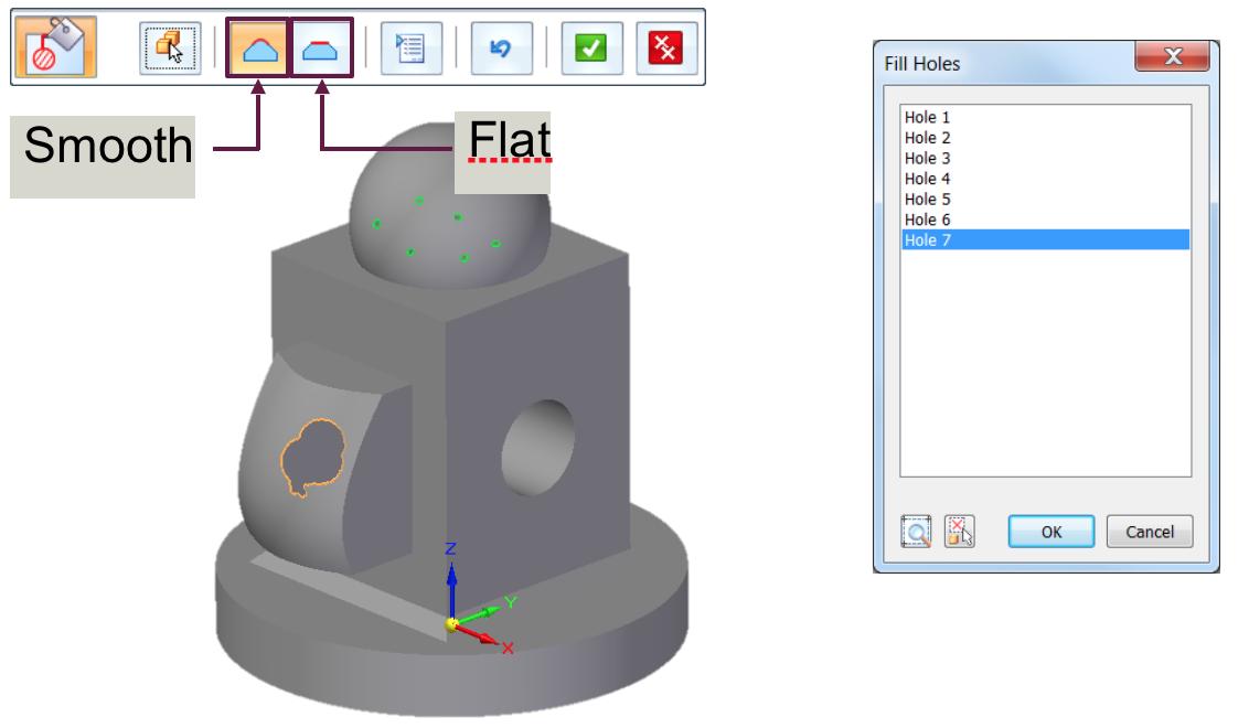 Narzędzia Solid Edge Reverse Engineering - polecenie Fill Holes
