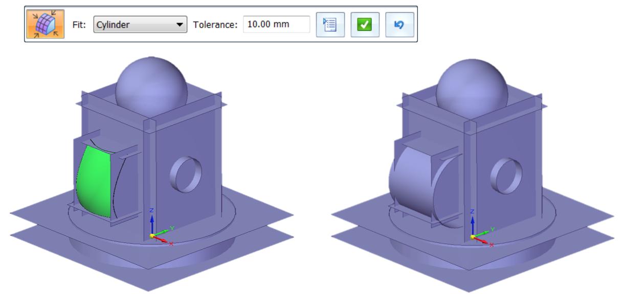 Narzędzia Solid Edge Reverse Engineering - polecenie Fit - Dopasuj